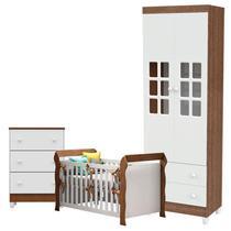 Quarto de Bebê Mariah 2 Portas Cômoda Gaveteiro com Berço Lara Branco Acetinado Amadeirado - Carolina - Carolina Baby