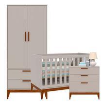Quarto de Bebê Nature 2 Portas Cinza/Eco Wood - Matic - Matic moveis