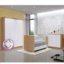 Quarto de Bebê New Helena com Guarda Roupa 4 Portas 3 Gavetas + Cômoda + Berço Mini Cama  EM Moveis - Emmoveis