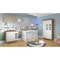 Quarto de Bebê Provençal Guarda Roupa 3P Cômoda Lisa Berço 3 em 1 Eloá Amadeirado Carolina Baby -