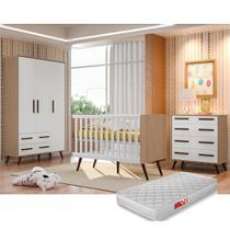 Quarto De Bebê Retrô com Guarda Roupa + Cômoda + Berço + Colchão - Qmovi -