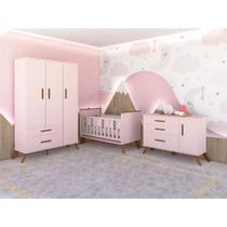 Quarto de Bebê Retrô Completo  Roupeiro, Cômoda e Berço Mini Cama com Colchão - Rosê - Mobili