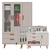 Quarto de Bebê Retrô Glass 3 Portas Cinza/Eco Wood - Matic - Matic moveis