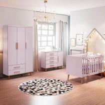 Quarto de Bebê Retrô Guarda Roupa 3P Ludmila Cômoda Ludmila Berço 3 em 1 Ludmila Rosa Carolina Baby -