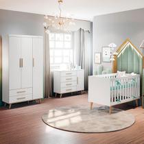 Quarto de Bebê Retrô  Ludmila Guarda Roupa 3P Cômoda com Fraldário Berço 3 em 1 Branco Carolina Baby -