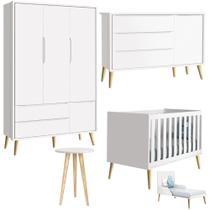 Quarto de Bebê Théo Retrô Com Guarda Roupa + Cômoda + Berço - Branco -  Reller -