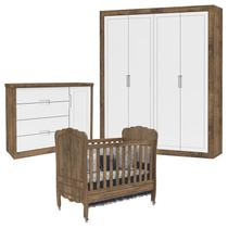 Quarto de Bebê Tutto New 4 Portas com Cômoda 1 Porta e Berço Provence Branco Acetinado Teka Touch - Matic - Matic moveis