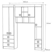 Quarto de solteiro Modulado 4 peças Palmeira Buri 12 -