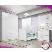 Quarto Helena Guarda Roupa 4 Portas + Cômoda + Berço - Baby Room