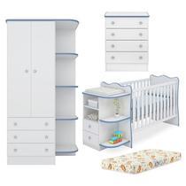 Quarto Infantil 03 Peças Doce Sonho 758X777X825 Branco Azul Com Colchao Qmovi -