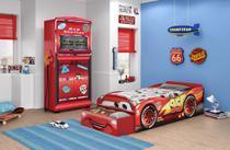Quarto Infantil Carros Disney Premium com Cama Baú e Guarda Roupa Vermelho - Pura Magia -