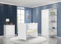 Quarto Infantil com Guarda Roupa 2 Portas 3 Gavetas com Cantoneira, Berço e Cômoda Doce Sonho Branco e Azul - Qmovi -