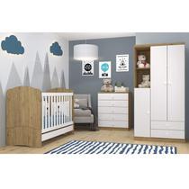 Quarto Infantil com Guarda Roupa 3 Portas Cômoda e Berço 3 em 1 Lápis de Cor Espresso Móveis Branco/Rústico -