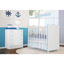 eb8f1dddff Quarto Infantil Cômoda e Berço Simples Doce Sonho Branco Azul - Qmovi