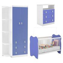 Quarto Infantil Completo 03 Peças Branco Azul DJD Moveis - Djd Móveis