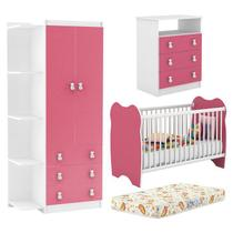Quarto Infantil Completo 03 Peças Branco Rosa Com Colchao DJD Moveis - Djd Móveis