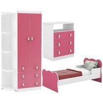 Quarto Infantil Completo 03 Peças Branco Rosa DJD Moveis - Djd Móveis