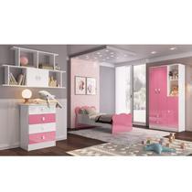 Quarto Infantil Completo Docinho com Guarda Roupa, Cômoda, Mini Cama e Nicho Espresso Móveis Branco/Rosa -