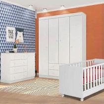 Quarto Infantil Completo Helena com Guarda Roupa 4 Portas, Cômoda 1 Porta e Berço Branco - Phoenix - Phoenix Baby