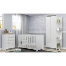 Quarto Infantil Completo João e Maria com berço 3 em 1 + colchão + Roupeiro e cômoda Branco Multi - Multimóveis