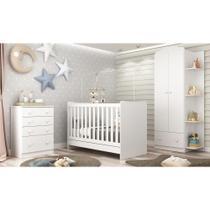 Quarto Infantil Completo João e Maria com berço 4 em 1 + Roupeiro e cômoda Branco - Multimóveis