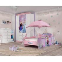 Quarto Infantil Completo MadeiraMadeira com Cômoda, Guarda Roupa e Cama 404891 Branco/Rosa - Pura Magia