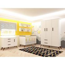 Quarto Infantil Completo Retrô com Berço Branco - Mobili