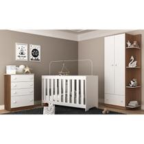 Quarto Infantil Completo roupeiro + cômoda + berço 3 em 1 com colchão incluso Doce Sonho Plus Multi - Multimóveis