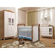 Quarto Infantil Decorado Ariel II Branco e Marrom - Carolina Baby