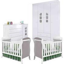 Quarto Infantil Guarda Roupa 4 Portas, Cômoda Ana Livia + Berço Dan - Kit Gêmeos - Phoenix Baby