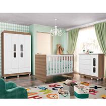 Quarto Infantil Katatau Com Guarda Roupa 4 Portas + Cômoda + Berço - Branco/Menzzo - Reller -