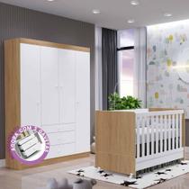 Quarto Infantil New Helena com Guarda Roupa 4 Portas 3 Gavetas + Berço Mini Cama  EM Moveis - Emmoveis