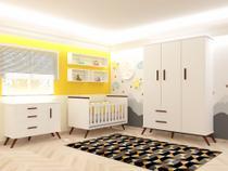 Quarto Infantil Retrô 3 portas Branco com Berço Mini Cama - Baby Shop - Mobili