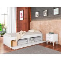 Quarto Juvenil Cama Tókio 4 Portas e Mesa de Cabeceira - Branco - Art In Móveis