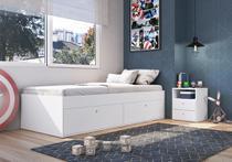 Quarto Juvenil com Cama 80 e Mesa de Cabeceira Tókio Branco - Art In Móveis -