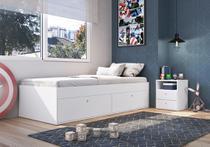 Quarto Juvenil com Cama 90 e Mesa de Cabeceira Tókio Branco - Art In Móveis -