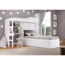 Quarto juvenil com cama alta lion e cama tokio branco- art in - Art In Móveis