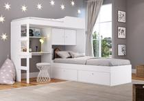 Quarto Juvenil com Cama Alta Lion e cama Tókio Branco - Art In Móveis -