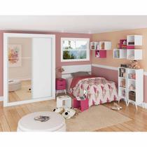 Quarto Juvenil com Guarda Roupa com Espelho, Cabeceira, Criado Mudo, Estante e Nichos Millie Madesa Branco/Rosa -