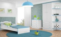 Quarto Juvenil Completo Doce Sonho com Mini Cama Branco/Azul - Qmovi -