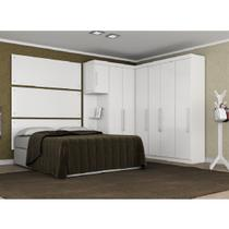 Quarto Modulado de Casal Modena 8 Peças Branco Mesa de Cabeceira + Roupeiro Armário - Demóbile