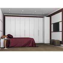 Quarto Modulado de Casal Modena 9 Portas Branco Painel Cabeceira + Roupeiro Armário - Demóbile