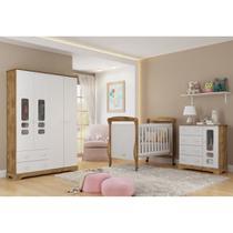 Quarto para Bebê com Guarda Roupas 4 Portas + Cômoda + Berço Mini Cama Smart Matic -