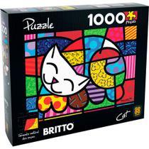 Quebra cabeça 1000 peças puzzle - romero britto - cat (gato) - Grow