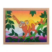 Quebra-cabeça animais e filhotes c/ 13 peças - macaco - Carlu -