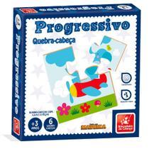 Quebra Cabeça Educativo Progressivo Madeira 4, 6, 9 E 12pçs - Brincadeira de Criança