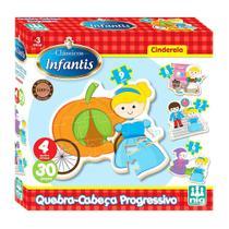 Quebra Cabeça Progressivo Cinderela - 30 peças - Nig Brinquedos -