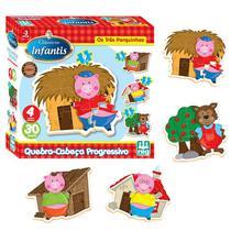 Quebra-Cabeça - Progressivo - Os Três Porquinhos - Madeira - 30 peças - Nig - Nig brinquedos