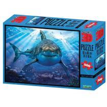 Quebra Cabeça Super 3D Tubarão C/500 Peças BR1054 - Multikids