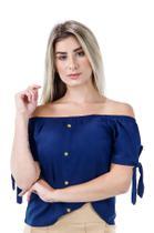Racana - Blusa Feminina Adulto Ciganinha Azul Marinho - RAC-1363-MA -